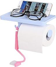 Vmoni Multi-Functional Tissue Roll Toilet Paper/Towel/Key Holder with Mobile/Soap/Pot Shelf Rack (Multi Color)