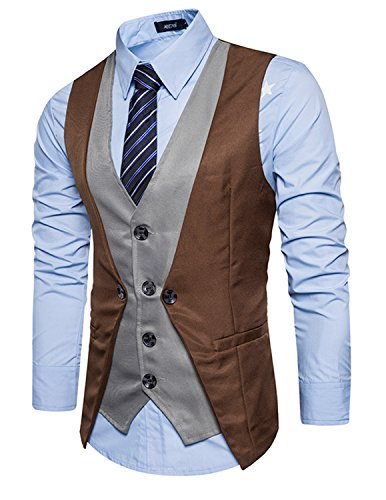 Leisure Homme Gilet Costume Veste Slim Fit Sans Manches Business Mariage 2in1(Sans chemise),Marron 1,XXL