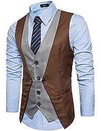 Leisure Homme Gilet Costume Veste Slim Fit Sans Manches Business Mariage 2in1(Sans chemise)