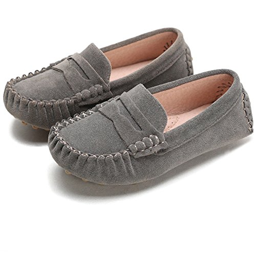 Sunny&Baby Ragazzi Loafer Shoes Kids Mocassini Slip On Style Soft antiscivolo Outsole Easy On & Off Resistente all'abrasione (Color : Grigio, Dimensione : 21 EU)