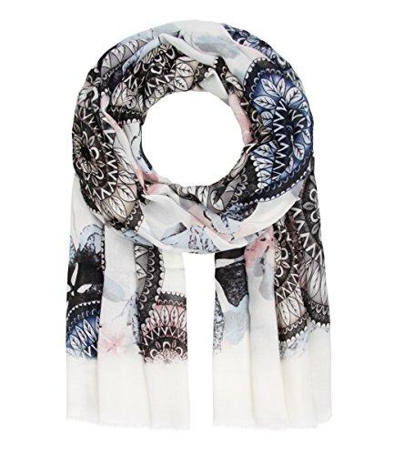 Majea NEU Schal Damen Tuch viele Farben Muster Tücher Halstuch XXL Schals (blau 5)
