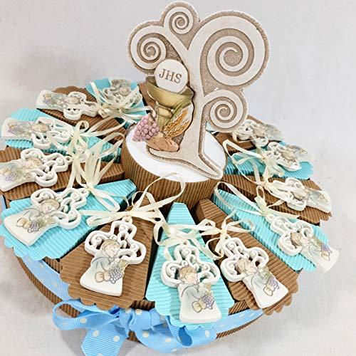 Sindy bomboniere 8054382130 torta bomboniera prima comunione maschio croce immagine sacra, con confetti, resina, panna, 30 x 30 x 5 cm