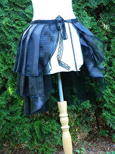 Rock Weite 90cm schwarz Bustle Skirt Schleppe Wickelrock Organza (Bustle Skirt Kostüm)
