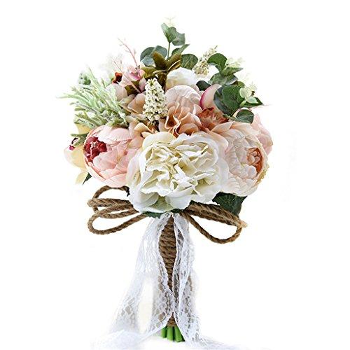 Fouriding bouquet da sposa nozze bouquet di peonia fiori artificiali fiori vintage decorazione di nozze pizzo