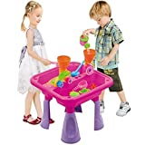 New Rexco Sea Life Animals Pink Sand And Water Table Garden Sandpit Play Set Toy Watering Can Spade Moulds Shapes 001829