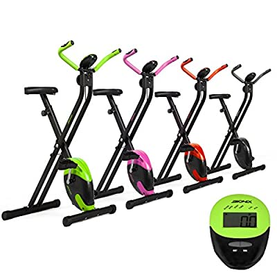 Bionix Folding Magnetic Exercise Bike Cardio Exercise Home Gym Fitness Aerobic Workout Weight Loss Machine Bionix Foldable Bike, LCD Screen, Pulse Sensor, Seat Height Adjustable, 8 Resistance Level
