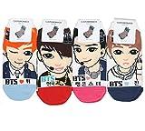 De la Mujer Kpop BTS calcetines 4Pack + soltreebundle bolígrafo (negro)