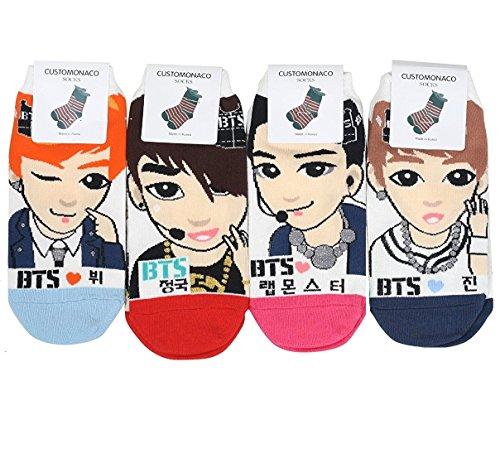 Chaussettes de Kpop BTS pour femme Lot de 4+ Soltreebundle Stylo à bille (Noir)
