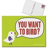 Forbetter your English Postkarte Karte You want to bird Willst du vögeln grün rot
