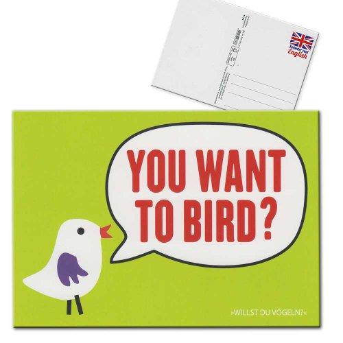 forbetter-your-english-postkarte-karte-you-want-to-bird-willst-du-vogeln-grun-rot