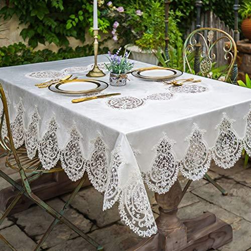 Nappe blanche dentelle luxe nordique style luxe or velours carré Rectangle Table Cover pour la décoration intérieure, fêtes d'anniversaire, réceptions de mariage, tables de salle à manger