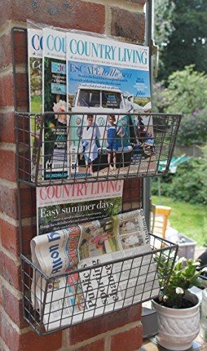 Wall mounted grey wirework magazine/brochure rack - Wall Magazin Mounted Rack