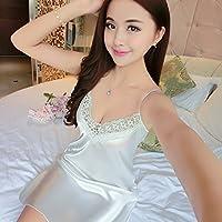 Hembra, verano, pijama, camisón transparente, pijama, tamaño, sólido, encaje, ropa interior, hogar, decoración., blanco