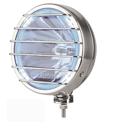 Euralight Faro Abbagliante blu 211mm con luce posizione LED 12Volt e pietrisco griglia di protezione in acciaio