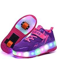 Recollect Unisex Automática de Skate Led Luz Zapatillas con Ruedas Zapatos Patines Deportes Zapatos para Niños