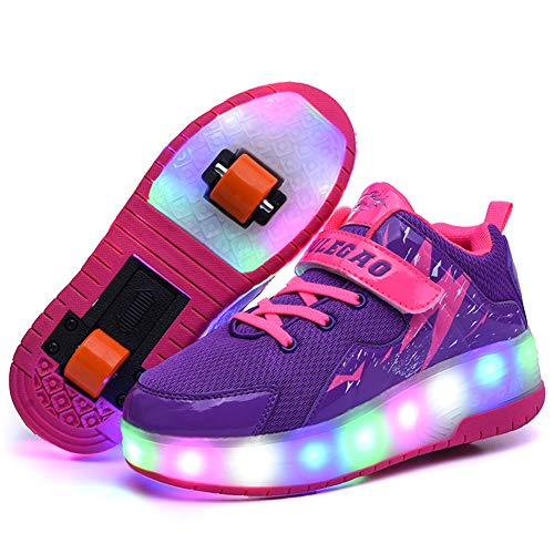 Recollect Unisex Automática de Skate Led Luz Zapatillas con Ruedas Zapatos Patines Deportes Zapatos para Niños/Niñas,Purple,34EU