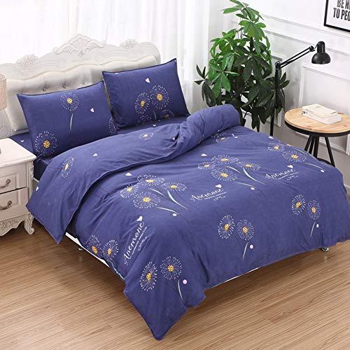 JWANS 3/4 Stück Bettwäsche Set Baumwollmischung Bettbezug Flaches Blatt Kissenbezug Twin Full Queen Size Kurze Stil Tagesdecke (Queen-size-blatt-sets Clearance)