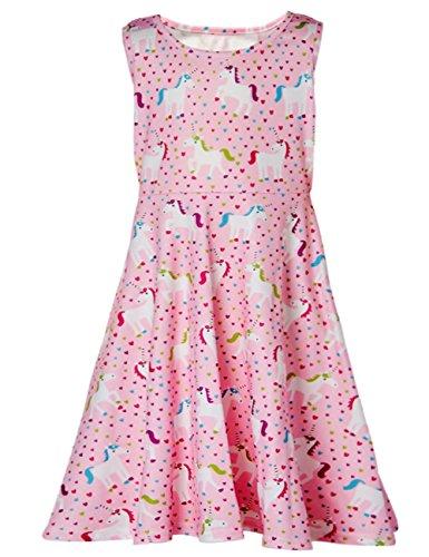 Funnycokid Frühling Sommer Skater Kleid Kinder Mädchen lässige Swing Kleid ca. 6-7 Jahre