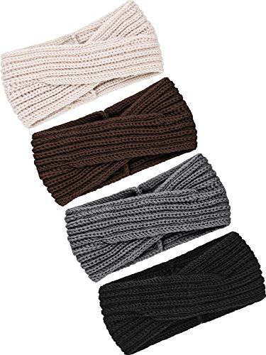 TecUnite 4 Stück Klumpig Stricken Stirnbänder Winter Geflochten Stirnband Ohrwärmer Häkeln Kopf Wickel für Damen Mädchen (Farbe Set 14) (Stricken Winter)