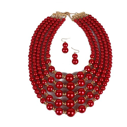 Handgemachte Nachahmungen Von Perlen Perlen Mode Übertreibung Weiblich Kurzer Absatz Multi-Layer-Halsketten-Ohrringe Fein Es Hat Kleidung,Red-OneSize (Red-hat-mode)