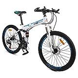 GPAN 26 Pouces Pliable Vélo VTT Mountain Bicycles Hommes et Femmes Hors Route vélo,24 Vitesses,avec Frein à Disque Avant et arrière Double Suspension,White