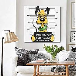 """Décoration murale Mickey Mouse avec Mickey Minnie Donald Duck Daisy Goofy Pluto pour le salon, le bureau, la chambre à coucher, le café avec cadre, Pluton, 12""""X12"""" (30X30CM)"""
