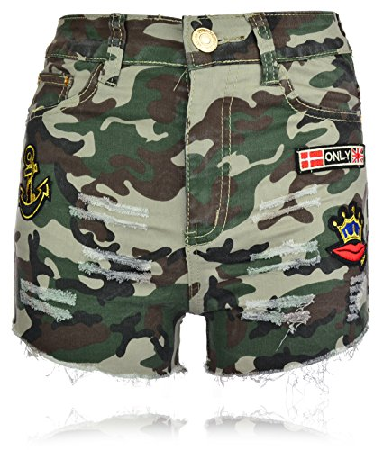 Damen Camouflage Shorts Tarnung Hotpants Used Look kurze Hose XS-XL M Mehrfarbig (Shorts Baumwolle Camouflage)