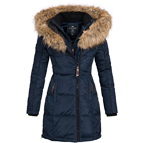 Geographical Norway Belissima Damen Winterjacke Parka Mantel Jacke warm Gr. S-XXL, Größe:XL / 42;Farbe:Navy (Mantel Blau Jacke)