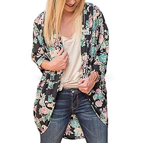 Femme Automne Hiver Manches Longues Imprimé Fleurie lâche Casual Irreguliere Ouvert Manteau Cardigan Tops Vert