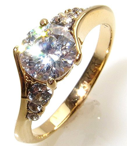 Ah! Jewellery Elegant Gold Filled Promise Simulated Diamond Engagement Ring. 6.5mm Centre Stone With 3 Perfectly Round Lab Diamonds Running Along Each Side. 2.5gr Total Weight And 7mm Total Width.