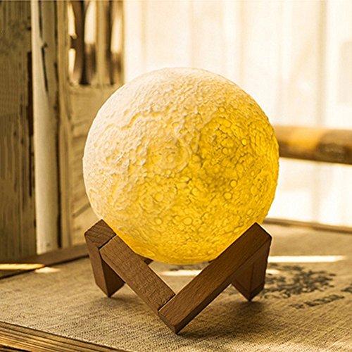 Lampada di Moonlight, E-LINK notte luce 3D stampa lunare lampada Lunar USB ricarica luce notturna, controllo tattile luminosità due toni Light