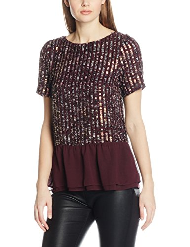 Coast Damen Amiath Sequin Peplum Top Mehrfarbig (merlot)
