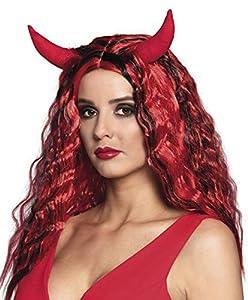Boland 85604 - Peluca de Diablo con Cuernos, Color Rojo
