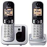 Panasonic KX-TGC212 - Teléfono fijo inalámbrico Dúo (LCD, identificador de llamadas, agenda de 50 números, tecla de navegación, modo ECO, reducción de ruido), Plata, TGC21 Duo