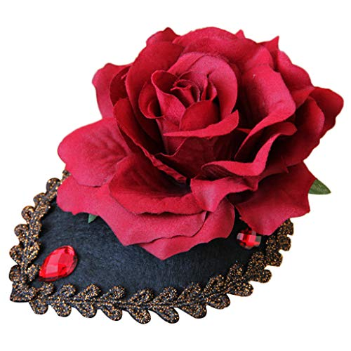 ssin Tiara Vintage Gothic Party Mini Fascinator Hut Blume Haarspange ()