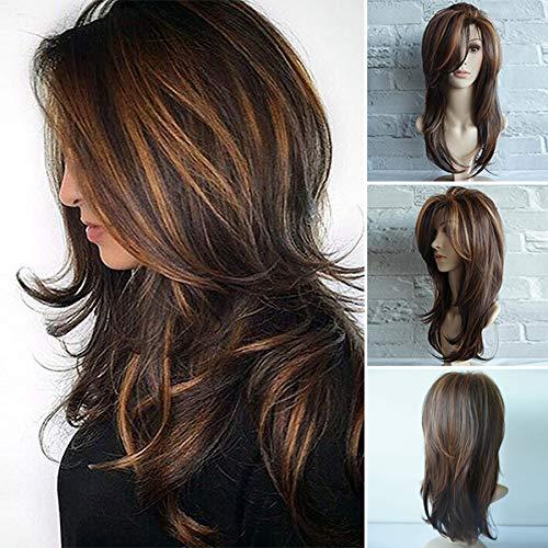Alexsix Frauen Golden Brown lange lockige Perücke synthetische lockige welliges Haar hitzebeständige Perücke - Golden Brown-haar-perücke