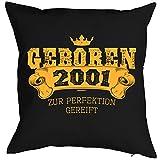 Mega-Shirt zum 18 Geburtstag Geschenkidee Polster Kissen mit Füllung Geboren 2001 zur Perfektion gereift Polster zum 18. Geburtstag für 18-jähirge Dekokissen
