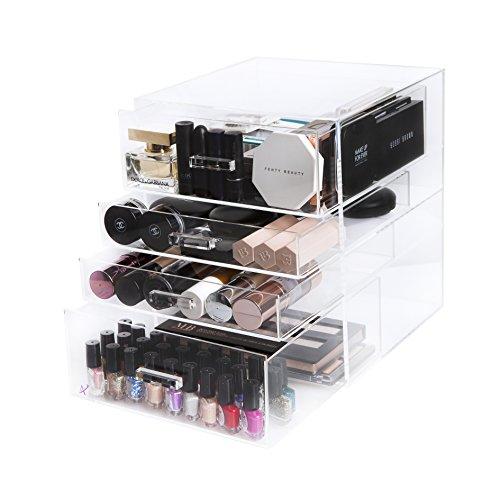 Arnais Beauty - Grande boite de rangement de maquillage à 4 étages en acrylique de haute qualité - Pour ranger pinceaux de maquillage, fonds de teint, rouges à lèvres, parfums, correcteurs, vernis à ongles