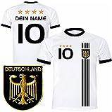 Deutschland Trikot mit GRATIS Wunschname + Nummer + Wappen Typ #D 2017 günstig im EM / WM weiss - Geschenke für Kinder,Jungen,Baby,.. Fußball T-Shirt personalisiert als Weihnachtsgeschenk