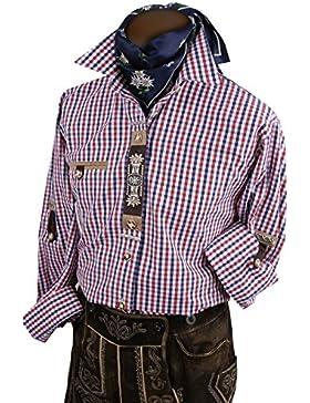 Top-Quality Trachtenhemd Herren - Rot-Blau-Karo/kariert - Langarm/Kurzarm - Komfort Reine Baumwolle -mit Edelweiß