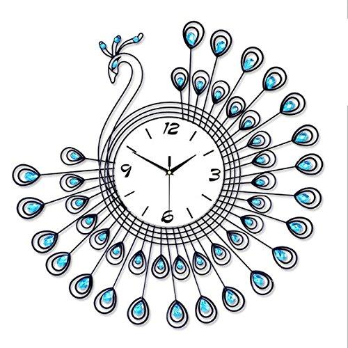 FGDGH Wanduhr Kreative Wohnzimmer Uhr Pfau Eisen Uhr Wohnkultur Uhr Europäischen stille quarzuhr, 2 - Pate Uhr