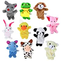 WINOMO Finger Puppets,10PCS Different Style Soft Plush Animals Finger Puppets Set for Babies and Toddlers