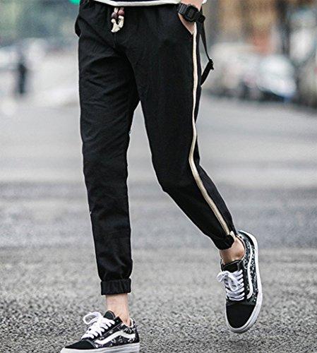 WSLCN Homme Jogging Pantalon en Lin Side stripe Taille Elastique Cordon de Serrage Noir
