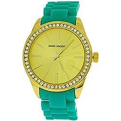 Mark Maddox Ladies Rhinestone Set Bezel Goldtone Dial Strap Watch MP3017-37 (Certified Refurbished)