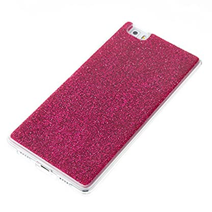 COZY HUT Huawei P8 Lite Case, Huawei P8 Lite Back Cover, Luxury Bling Shiny Sparkle Glitter Soft TPU Silicone Case Cover For Huawei P8 Lite - rose Red 3