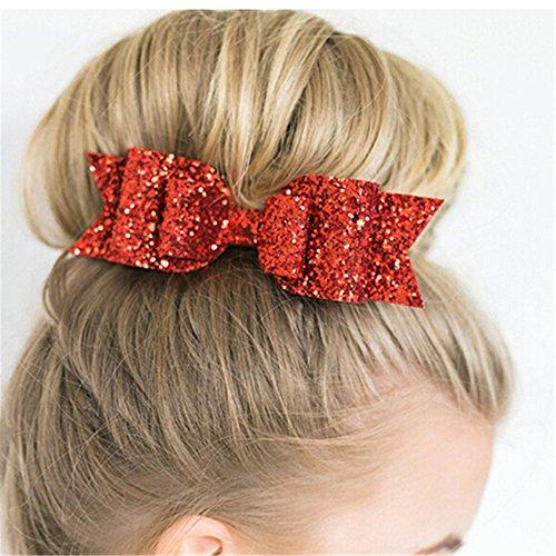 Mädchen Fashion Hair Clips Haarspangen Haar Zubehör Glitzer Haar Bögen Haar Schleife Form Clip (Glitter Haar Bögen)
