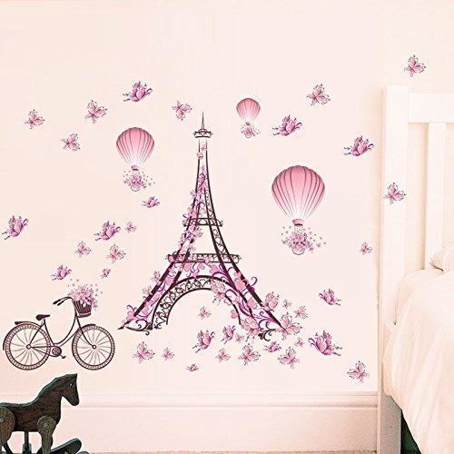 Venkaite Vinyl Wandaufkleber Paris Turm Rosa Abnehmbare Wandtattoo Kunst Aufkleber für Wohnzimmer Schlafzimmer Wanddekoration 65x100cm (25.6x39.3 inches) - Paris-wand-aufkleber