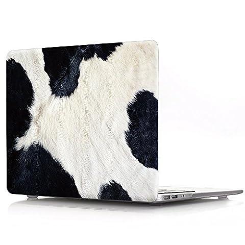 Proelife 2en 1Premium Ultra mince PC Coque rigide Housse de protection et d'une même Motif TPU solide Couvercle de clavier pour MacBook 30,5cm (modèle: A1534) Macbook 12'' Cow-Black in White
