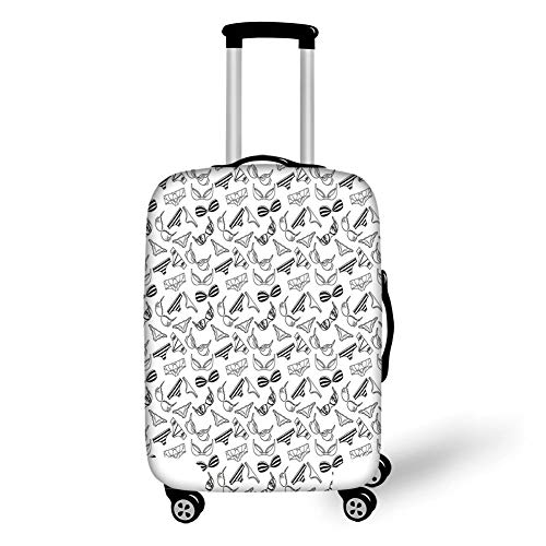 Travel Luggage Cover Suitcase Protector,Black and White,Lingerie Underwear Pattern Bras and Panties Doodle Feminine Fashion Theme,Black White,for Travel -