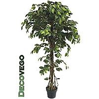 Fico Ficus Benjamin Pianta Albero Artificiale con Legno Naturale 165cm Decovego